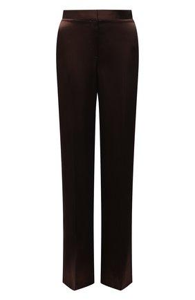 Женские брюки из вискозы ALEXANDER MCQUEEN коричневого цвета, арт. 583746/QEAC9 | Фото 1 (Материал внешний: Вискоза; Длина (брюки, джинсы): Удлиненные; Стили: Гламурный; Женское Кросс-КТ: Брюки-одежда; Силуэт Ж (брюки и джинсы): Прямые)