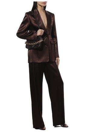 Женские брюки из вискозы ALEXANDER MCQUEEN коричневого цвета, арт. 583746/QEAC9 | Фото 2 (Материал внешний: Вискоза; Длина (брюки, джинсы): Удлиненные; Стили: Гламурный; Женское Кросс-КТ: Брюки-одежда; Силуэт Ж (брюки и джинсы): Прямые)