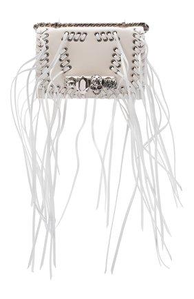 Женская сумка knuckle mini ALEXANDER MCQUEEN кремвого цвета, арт. 653134/1BLAR | Фото 1 (Ремень/цепочка: На ремешке; Материал: Натуральная кожа; Размер: mini; Сумки-технические: Сумки через плечо)