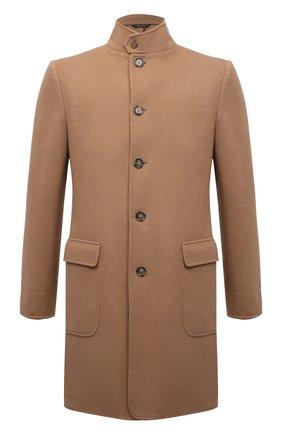 Мужской шерстяное пальто LORO PIANA бежевого цвета, арт. FAL9175 | Фото 1 (Рукава: Длинные; Материал внешний: Шерсть; Длина (верхняя одежда): До середины бедра; Мужское Кросс-КТ: пальто-верхняя одежда; Стили: Кэжуэл)