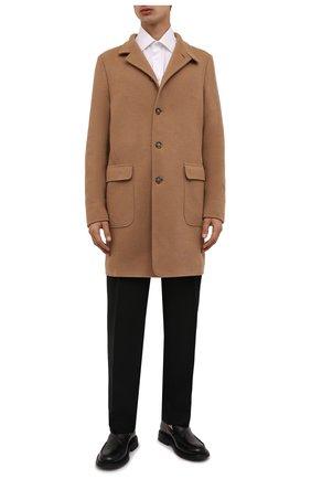 Мужской шерстяное пальто LORO PIANA бежевого цвета, арт. FAL9175 | Фото 2 (Рукава: Длинные; Материал внешний: Шерсть; Длина (верхняя одежда): До середины бедра; Мужское Кросс-КТ: пальто-верхняя одежда; Стили: Кэжуэл)