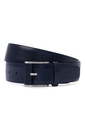 Мужской кожаный ремень ZILLI темно-синего цвета, арт. MJL-CLAQE-01030/0082 | Фото 1 (Случай: Формальный)