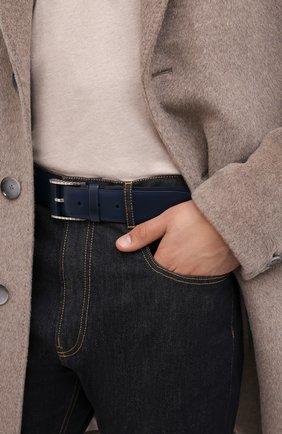 Мужской кожаный ремень ZILLI темно-синего цвета, арт. MJL-CLAQE-01030/0082 | Фото 2 (Случай: Формальный)