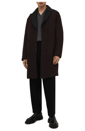 Мужской утепленный плащ BRIONI темно-коричневого цвета, арт. SUNS0L/03811   Фото 2 (Материал внешний: Синтетический материал; Рукава: Длинные; Материал утеплителя: Пух и перо; Материал подклада: Синтетический материал; Длина (верхняя одежда): До колена; Стили: Кэжуэл; Мужское Кросс-КТ: Плащ-верхняя одежда)
