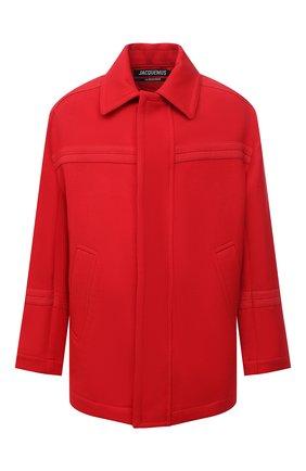 Мужская шерстяная куртка JACQUEMUS красного цвета, арт. 216C0002-1330   Фото 1 (Материал внешний: Шерсть; Кросс-КТ: Куртка; Мужское Кросс-КТ: шерсть и кашемир; Длина (верхняя одежда): До середины бедра; Рукава: Длинные; Стили: Минимализм)