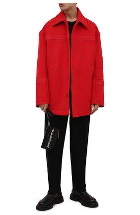 Мужская шерстяная куртка JACQUEMUS красного цвета, арт. 216C0002-1330   Фото 2 (Материал внешний: Шерсть; Кросс-КТ: Куртка; Мужское Кросс-КТ: шерсть и кашемир; Длина (верхняя одежда): До середины бедра; Рукава: Длинные; Стили: Минимализм)