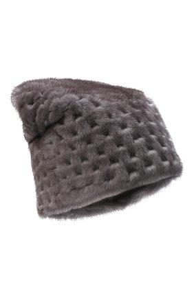 Женская шапка из меха норки KUSSENKOVV темно-серого цвета, арт. 070600010675   Фото 1 (Материал: Натуральный мех)