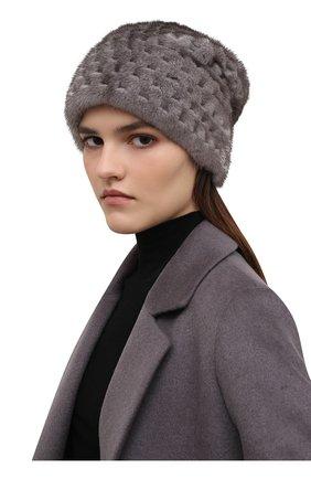 Женская шапка из меха норки KUSSENKOVV темно-серого цвета, арт. 070600010675   Фото 2 (Материал: Натуральный мех)