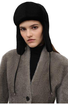Женская шапка-ушанка и меха норки KUSSENKOVV черного цвета, арт. 091510002093 | Фото 2 (Материал: Натуральный мех)