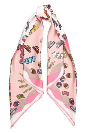 Женский шелковый платок CHLOÉ светло-розового цвета, арт. CHC21AT089SLK   Фото 1 (Материал: Шелк, Текстиль; Принт: С принтом)