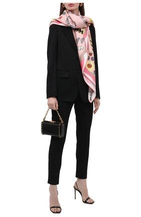 Женский шелковый платок CHLOÉ светло-розового цвета, арт. CHC21AT089SLK   Фото 2 (Материал: Шелк, Текстиль; Принт: С принтом)