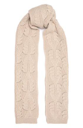 Женский кашемировый шарф LORO PIANA светло-бежевого цвета, арт. FAM0227 | Фото 1 (Материал: Кашемир, Шерсть)