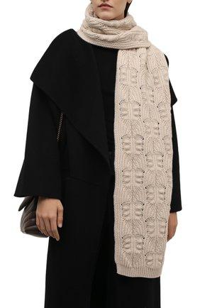 Женский кашемировый шарф LORO PIANA светло-бежевого цвета, арт. FAM0227 | Фото 2 (Материал: Кашемир, Шерсть)