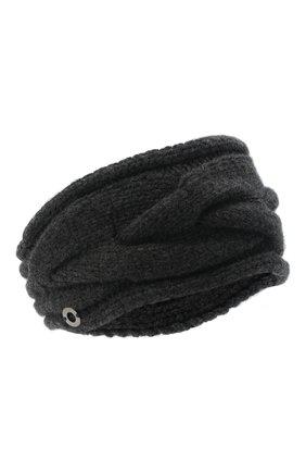 Женского кашемировая повязка на голову LORO PIANA темно-серого цвета, арт. FAM0119 | Фото 1 (Материал: Кашемир, Шерсть)