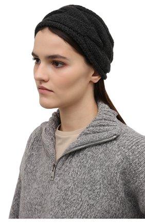Женского кашемировая повязка на голову LORO PIANA темно-серого цвета, арт. FAM0119 | Фото 2 (Материал: Кашемир, Шерсть)