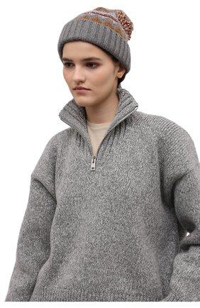 Женская кашемировая шапка LORO PIANA серого цвета, арт. FAL9117 | Фото 2 (Материал: Шерсть, Кашемир)