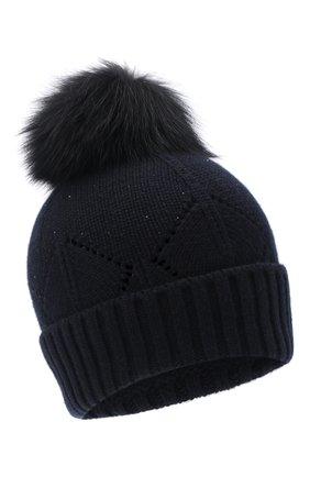 Женская шапка из кашемира и шерсти LORO PIANA темно-синего цвета, арт. FAL8942 | Фото 1 (Материал: Шерсть, Кашемир)