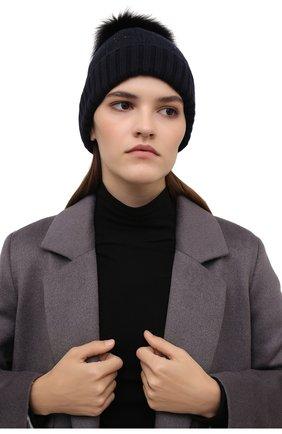 Женская шапка из кашемира и шерсти LORO PIANA темно-синего цвета, арт. FAL8942 | Фото 2 (Материал: Шерсть, Кашемир)
