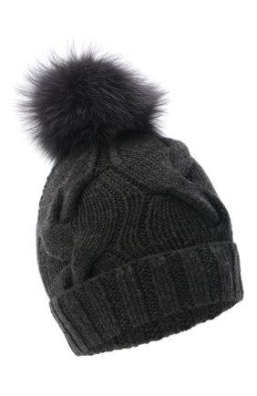 Женская кашемировая шапка courchevel LORO PIANA темно-серого цвета, арт. FAI3621 | Фото 1 (Материал: Шерсть, Кашемир)