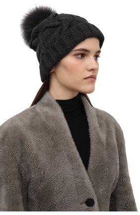 Женская кашемировая шапка courchevel LORO PIANA темно-серого цвета, арт. FAI3621 | Фото 2 (Материал: Шерсть, Кашемир)