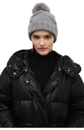Женская кашемировая шапка courchevel LORO PIANA серого цвета, арт. FAI3621 | Фото 2 (Материал: Шерсть, Кашемир)