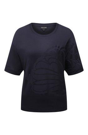 Женская футболка GIORGIO ARMANI темно-синего цвета, арт. 6KAM90/AJETZ | Фото 1 (Материал внешний: Синтетический материал; Рукава: Короткие; Длина (для топов): Стандартные; Принт: С принтом; Женское Кросс-КТ: Футболка-одежда)
