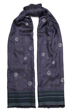 Женский шарф GIORGIO ARMANI темно-синего цвета, арт. 795211/1A130 | Фото 1 (Материал: Текстиль, Шелк, Вискоза)