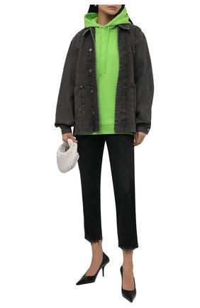 Женский хлопковое худи GANNI зеленого цвета, арт. T2990   Фото 2 (Длина (для топов): Стандартные; Рукава: Длинные; Материал внешний: Хлопок; Стили: Спорт-шик; Женское Кросс-КТ: Худи-одежда, Худи-спорт)