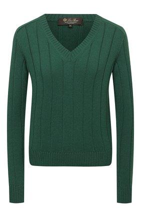 Женский кашемировый пуловер LORO PIANA темно-зеленого цвета, арт. FAL7493 | Фото 1 (Материал внешний: Шерсть, Кашемир; Рукава: Длинные; Длина (для топов): Стандартные; Стили: Кэжуэл; Женское Кросс-КТ: Пуловер-одежда)