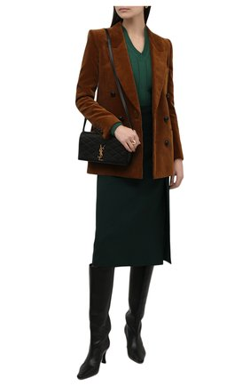 Женский кашемировый пуловер LORO PIANA темно-зеленого цвета, арт. FAL7493 | Фото 2 (Материал внешний: Шерсть, Кашемир; Рукава: Длинные; Длина (для топов): Стандартные; Стили: Кэжуэл; Женское Кросс-КТ: Пуловер-одежда)