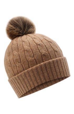 Женская кашемировая шапка POLO RALPH LAUREN бежевого цвета, арт. 455858421   Фото 1 (Материал: Шерсть, Кашемир)