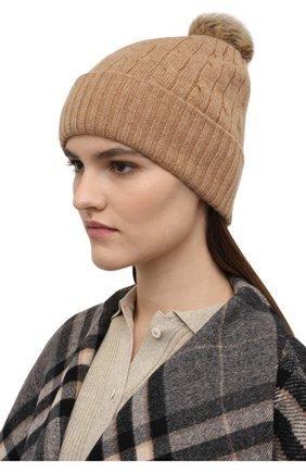 Женская кашемировая шапка POLO RALPH LAUREN бежевого цвета, арт. 455858421   Фото 2 (Материал: Шерсть, Кашемир)