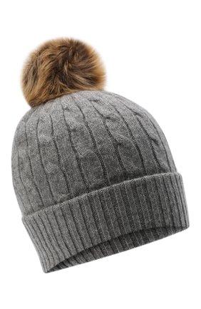 Женская кашемировая шапка POLO RALPH LAUREN серого цвета, арт. 455858421   Фото 1 (Материал: Шерсть, Кашемир)