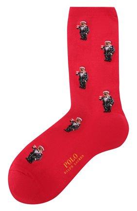 Женские носки POLO RALPH LAUREN красного цвета, арт. 455855678   Фото 1 (Материал внешний: Хлопок)