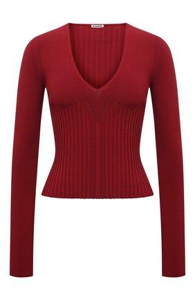 Женский пуловер из вискозы JIL SANDER красного цвета, арт. JSWT754330-WTY39148 | Фото 1 (Материал внешний: Вискоза; Рукава: Длинные; Длина (для топов): Стандартные; Стили: Минимализм; Женское Кросс-КТ: Пуловер-одежда)