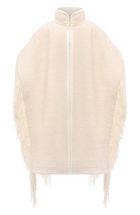 Женская шерстяное пончо JIL SANDER белого цвета, арт. JSWT752305-WTY20098A   Фото 1 (Длина (верхняя одежда): До середины бедра; Материал внешний: Шерсть; Стили: Минимализм)