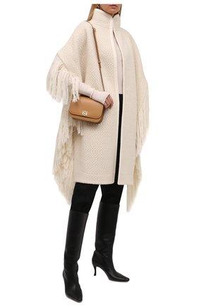 Женская шерстяное пончо JIL SANDER белого цвета, арт. JSWT752305-WTY20098A   Фото 2 (Длина (верхняя одежда): До середины бедра; Материал внешний: Шерсть; Стили: Минимализм)