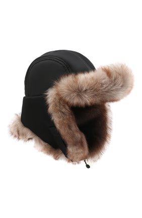 Мужская шапка-ушанка с меховой отделкой GIORGIO ARMANI черного цвета, арт. 747354/1A763   Фото 1 (Материал: Синтетический материал, Текстиль)