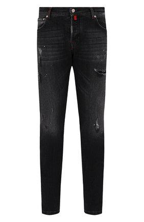 Мужские джинсы KITON темно-серого цвета, арт. UPNJS/J0357A   Фото 1 (Материал внешний: Хлопок; Кросс-КТ: Деним; Силуэт М (брюки): Прямые; Детали: Потертости; Стили: Гранж; Длина (брюки, джинсы): Стандартные)