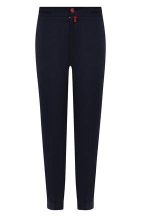 Мужские брюки из шерсти и кашемира KITON темно-синего цвета, арт. UFPLACK0121A   Фото 1 (Материал внешний: Шерсть; Случай: Повседневный; Стили: Кэжуэл; Длина (брюки, джинсы): Стандартные)