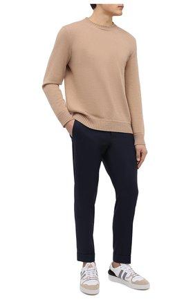 Мужские брюки из шерсти и кашемира KITON темно-синего цвета, арт. UFPLACK0121A   Фото 2 (Материал внешний: Шерсть; Случай: Повседневный; Стили: Кэжуэл; Длина (брюки, джинсы): Стандартные)