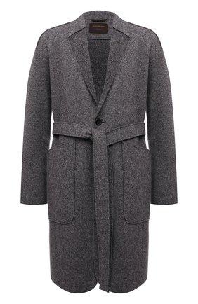 Мужской пальто из кашемира и шерсти ZEGNA COUTURE серого цвета, арт. 287016/4D26N0 | Фото 1 (Рукава: Длинные; Материал внешний: Кашемир, Шерсть; Длина (верхняя одежда): До колена; Мужское Кросс-КТ: пальто-верхняя одежда; Стили: Кэжуэл)