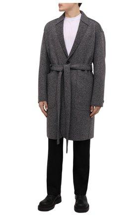 Мужской пальто из кашемира и шерсти ZEGNA COUTURE серого цвета, арт. 287016/4D26N0 | Фото 2 (Рукава: Длинные; Материал внешний: Кашемир, Шерсть; Длина (верхняя одежда): До колена; Мужское Кросс-КТ: пальто-верхняя одежда; Стили: Кэжуэл)