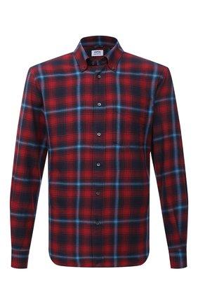 Мужская хлопковая рубашка ASPESI красного цвета, арт. W1 A CE24 E705   Фото 1 (Рукава: Длинные; Длина (для топов): Стандартные; Материал внешний: Хлопок; Случай: Повседневный; Манжеты: На пуговицах; Воротник: Button down; Принт: Клетка; Рубашки М: Regular Fit; Стили: Кэжуэл)