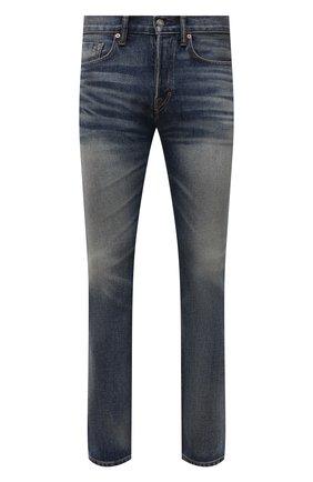 Мужские джинсы TOM FORD синего цвета, арт. BYJ31/TFD002   Фото 1 (Материал внешний: Хлопок; Кросс-КТ: Деним; Детали: Потертости; Стили: Кэжуэл; Силуэт М (брюки): Прямые; Длина (брюки, джинсы): Стандартные)