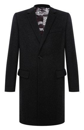 Мужской пальто из шерсти и кашемира DOLCE & GABBANA темно-серого цвета, арт. G007ST/FU3GT | Фото 1 (Материал внешний: Шерсть; Материал подклада: Синтетический материал; Длина (верхняя одежда): До середины бедра; Рукава: Длинные; Мужское Кросс-КТ: пальто-верхняя одежда; Стили: Классический)