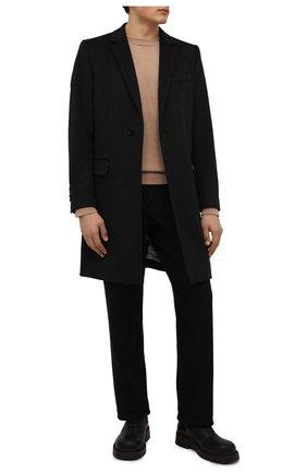 Мужской пальто из шерсти и кашемира DOLCE & GABBANA темно-серого цвета, арт. G007ST/FU3GT | Фото 2 (Материал внешний: Шерсть; Материал подклада: Синтетический материал; Длина (верхняя одежда): До середины бедра; Рукава: Длинные; Мужское Кросс-КТ: пальто-верхняя одежда; Стили: Классический)