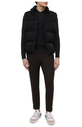 Мужские брюки из шерсти и кашемира KITON темно-коричневого цвета, арт. UFPLACK0121A   Фото 2 (Материал внешний: Шерсть; Случай: Повседневный; Стили: Кэжуэл; Длина (брюки, джинсы): Стандартные)