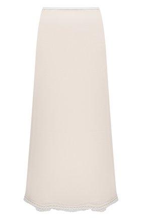 Женская шелковая юбка JIL SANDER белого цвета, арт. JSWT754315-WTY28058   Фото 1 (Материал внешний: Шелк; Длина Ж (юбки, платья, шорты): Миди; Материал подклада: Вискоза; Стили: Минимализм; Женское Кросс-КТ: Юбка-одежда)