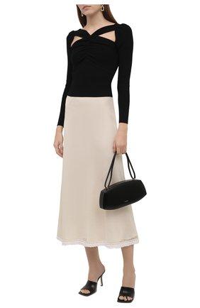 Женская шелковая юбка JIL SANDER белого цвета, арт. JSWT754315-WTY28058   Фото 2 (Материал внешний: Шелк; Длина Ж (юбки, платья, шорты): Миди; Материал подклада: Вискоза; Стили: Минимализм; Женское Кросс-КТ: Юбка-одежда)